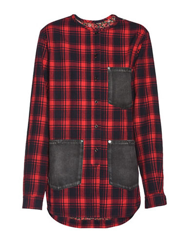 Diesel G-GABRI Plaid Shirt Jacket-RED-Medium