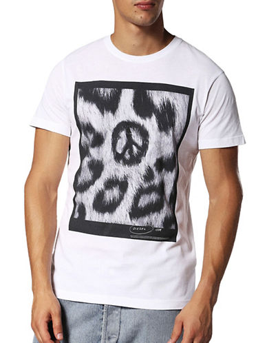 Diesel T-Diego-Rp Regular Slim-Fit Tee-WHITE-Small