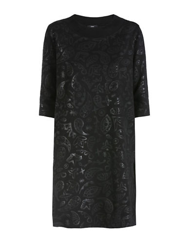 Diesel Paisley Sweatshirt Dress-BLACK-Medium