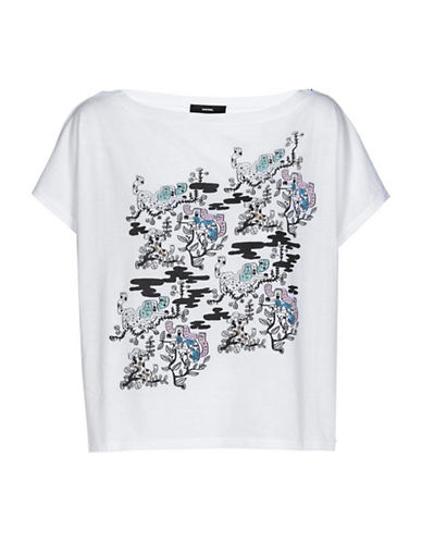 Diesel Artist Signature Cotton Cropped T-Shirt-WHITE-Small