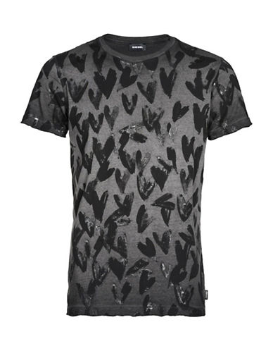 Diesel T-Diego-Rf Painted Hearts T-Shirt-BLACK-Medium
