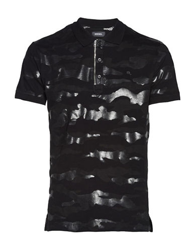 Diesel T-Kal Camouflage Cotton Polo-BLACK-Medium