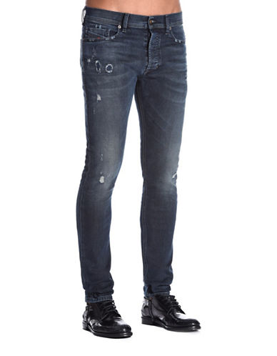 Diesel Tepphar Carrot-Fit Treated Jeans-BLUE-33X32