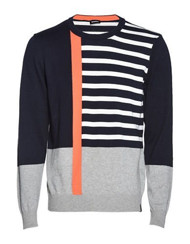 Diesel K-Stripy Cotton Sweater-BLUE-Medium