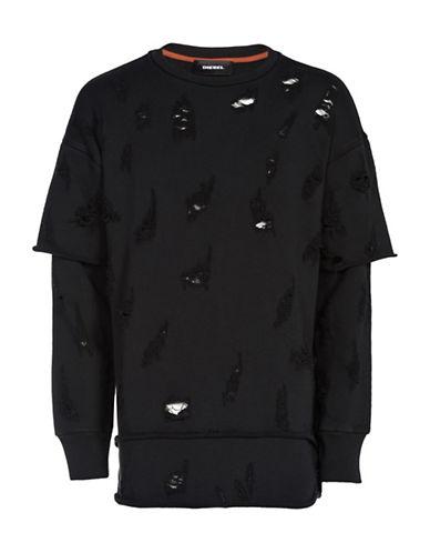 Diesel S-Cote Mock Layered Sweatshirt-BLACK-Large