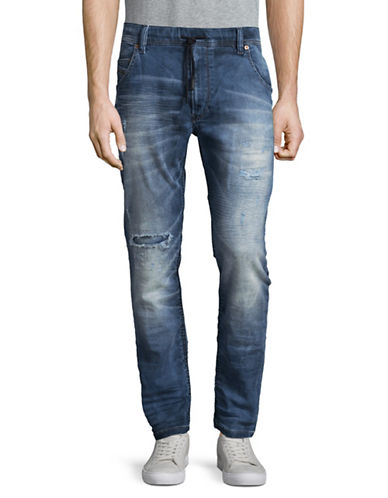 Diesel Krooley-Ne Distressed Tapered-Fit Carrot Jeans-BLUE-34