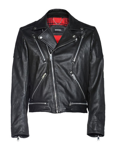 Diesel L-Primus Leather Motorcycle Jacket-BLACK-Small