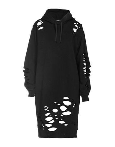 Diesel Distress Hoodie Dress-BLACK-X-Small