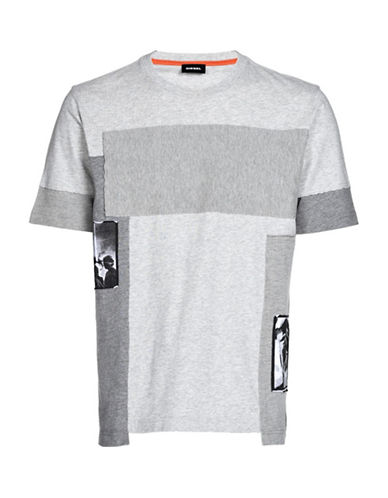Diesel T-Low Block Print T-Shirt-GREY-Medium