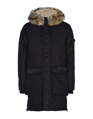 Diesel W-Folk Padded Faux Fur Trimmed Overcoat-BLACK-Small