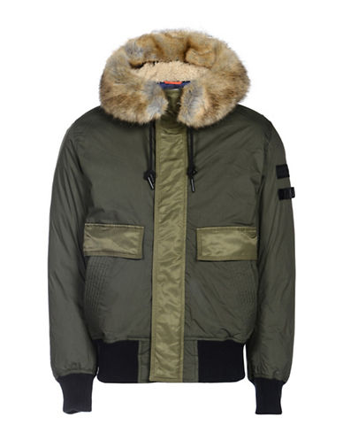Diesel W-Galt Padded Faux Fur Trimmed Jacket-GREEN-XLarge