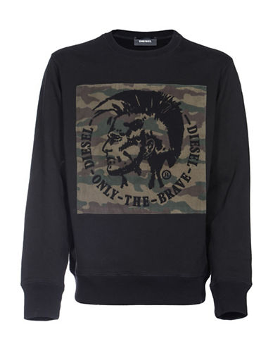 Diesel S-Joe-Rb Cotton Sweatshirt-BLACK-XXLarge