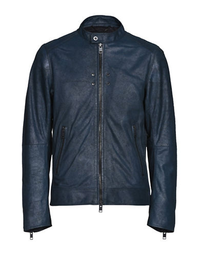 Diesel Zippered Leather Jacket-BLUE-Small