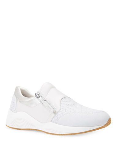 Geox D Omaya Leather-Trim Sneakers-WHITE-EUR 37/US 7