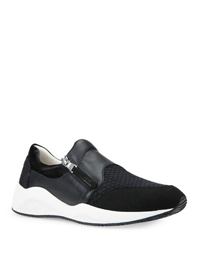 Geox D Omaya Leather-Trim Sneakers-BLACK-EUR 36/US 6