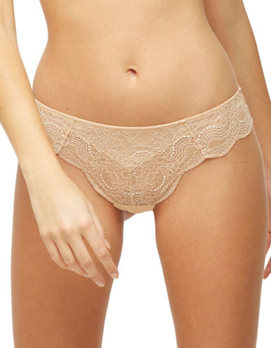 Blush Sheer Desire Lace Thong-ALMOND-X-Small