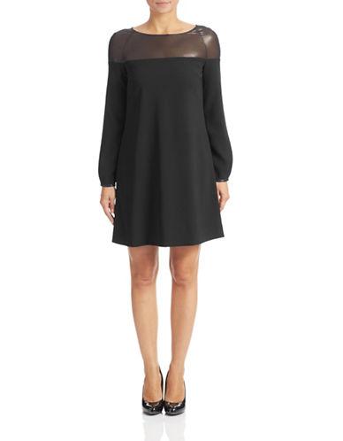 Armani Jeans Crepe Glitter Illusion Yoke Dress-BLACK-10
