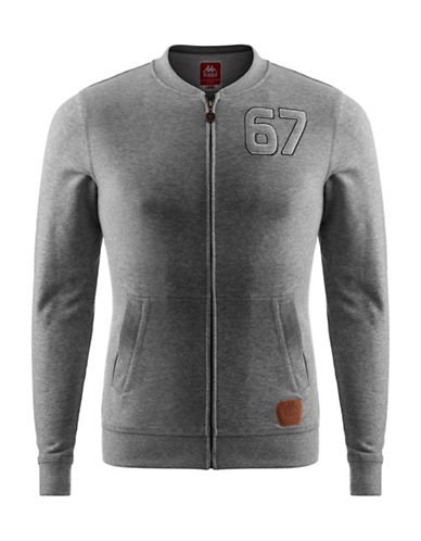 Kappa Slim-Fit French Terry Fleece Jacket-MEDIUM GREY-Large