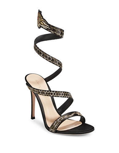 Gianvito Rossi Dragon Strap Sandals-BLACK-EUR 37.5/US 7.5