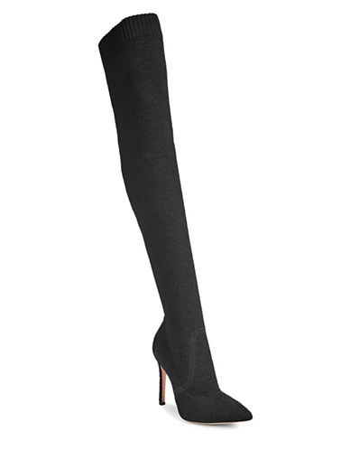 Gianvito Rossi Rib-Knit Over-The-Knee Boots-BLACK-EUR 37/US 7