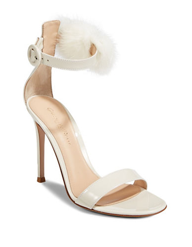Gianvito Rossi Faux Fur Detail Ankle Strap Pumps-OFF WHITE-EUR 38/US 8
