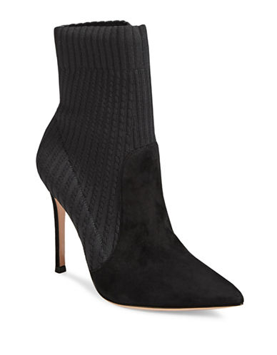 Gianvito Rossi Rib-Knit Ankle Boots-BLACK-EUR 37.5/US 7.5