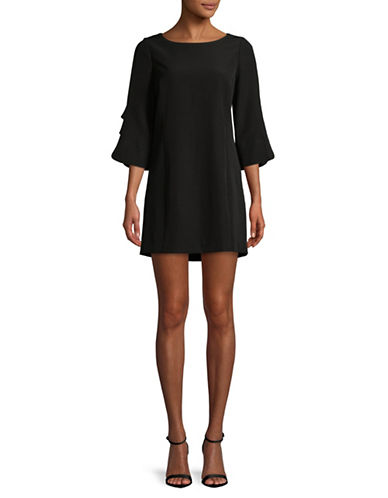 Laundry By Shelli Segal Crepe Faux Pearl Embellished Shift Dress-BLACK-6
