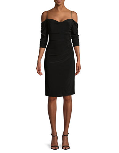 Laundry By Shelli Segal Cold-Shoulder Ruched Cocktail Dress-BLACK-10