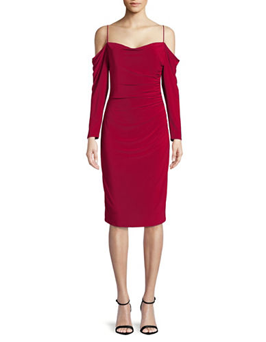 Laundry By Shelli Segal Cold-Shoulder Ruched Cocktail Dress-RED-6