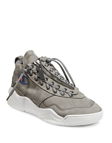 Casbia X Champion Atlanta Side Lace-Up Leather Sneakers-GREY-EU 40/US 7