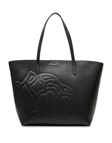 Braccialini Ninefea Calfskin Leather Shopper-BLACK-One Size