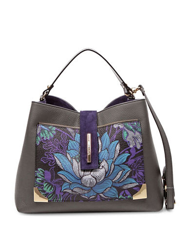 Braccialini Katia Printed Leather Satchel-GREY-One Size
