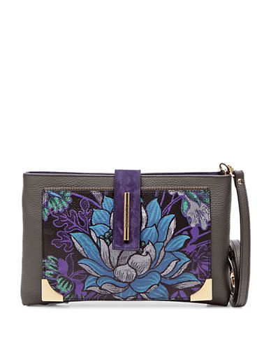 Braccialini Katia Printed Leather Wristlet-GREY-One Size