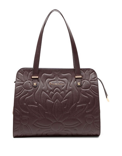 Braccialini Silvia Leather and Suede Shopper Bag-BROWN-One Size