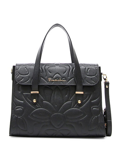 Braccialini Braccialini Silvia Boston Suede and Saffiano Leather Satchel Bag-BLACK-One Size