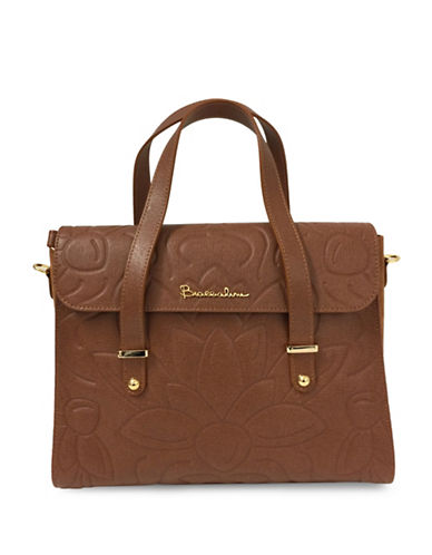Braccialini Braccialini Silvia Boston Suede and Saffiano Leather Satchel Bag-COGNAC-One Size