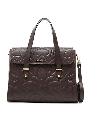 Braccialini Braccialini Silvia Boston Suede and Saffiano Leather Satchel Bag-BROWN-One Size