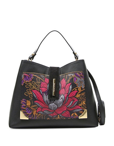 Braccialini Katia Printed Leather Satchel-BLACK-One Size