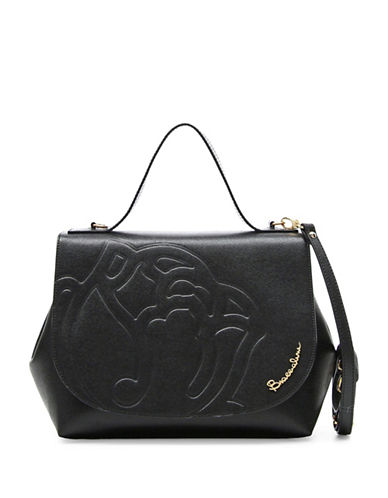 Braccialini Ninfea Calfskin Leather Satchel-BLACK-One Size