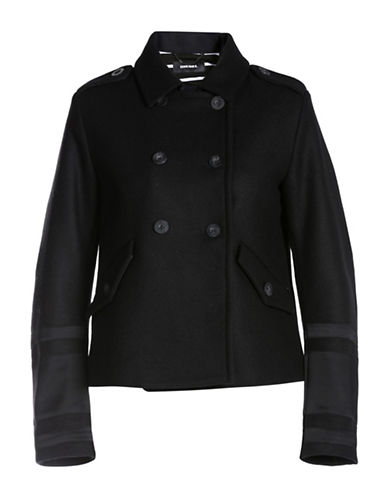 Diesel Double-Breasted Jacket-BLACK-X-Small 88726892_BLACK_X-Small