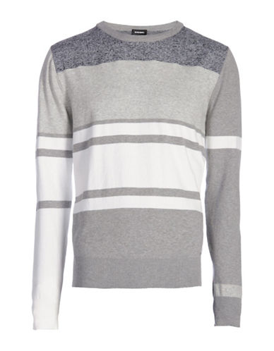 Diesel K-Acies Striped Sweater-GREY-X-Large 88600555_GREY_X-Large