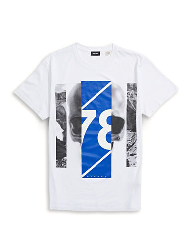 Diesel Woven Cotton Sport Graphic T-Shirt-WHITE-Small 88600598_WHITE_Small
