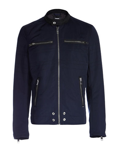 Diesel J-Neverzip Padded Cotton Jacket-BLUE-Small 88600516_BLUE_Small