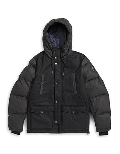 Diesel Hooded Wool-Combo Jacket-BLACK-X-Large 88602079_BLACK_X-Large