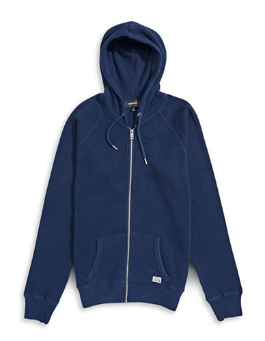 Diesel Zip-Front Waffle Knit Hoodie-BLUE-X-Large 88600935_BLUE_X-Large