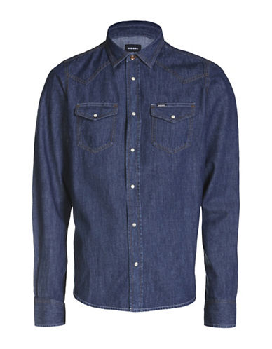 Diesel New Sonora Cotton Casual Button-Down Shirt-BLUE-XLarge