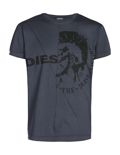 Diesel T-Ulee Mohican Head Print T-shirt-BLUE-X-Large 88871292_BLUE_X-Large