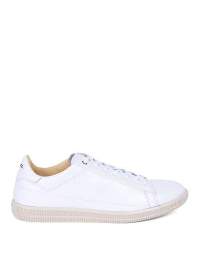 Diesel Embossed Leather Sneakers-WHITE-12