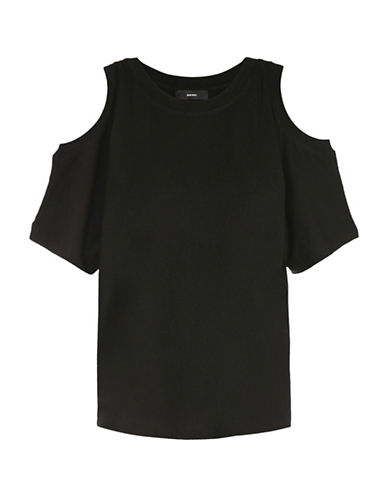 Diesel Cold-Shoulder Tee-BLACK-X-Small