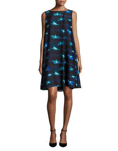 Armani Collezioni Pleat Side Printed Trapeze Dress-BLUE-EUR 42/US 6